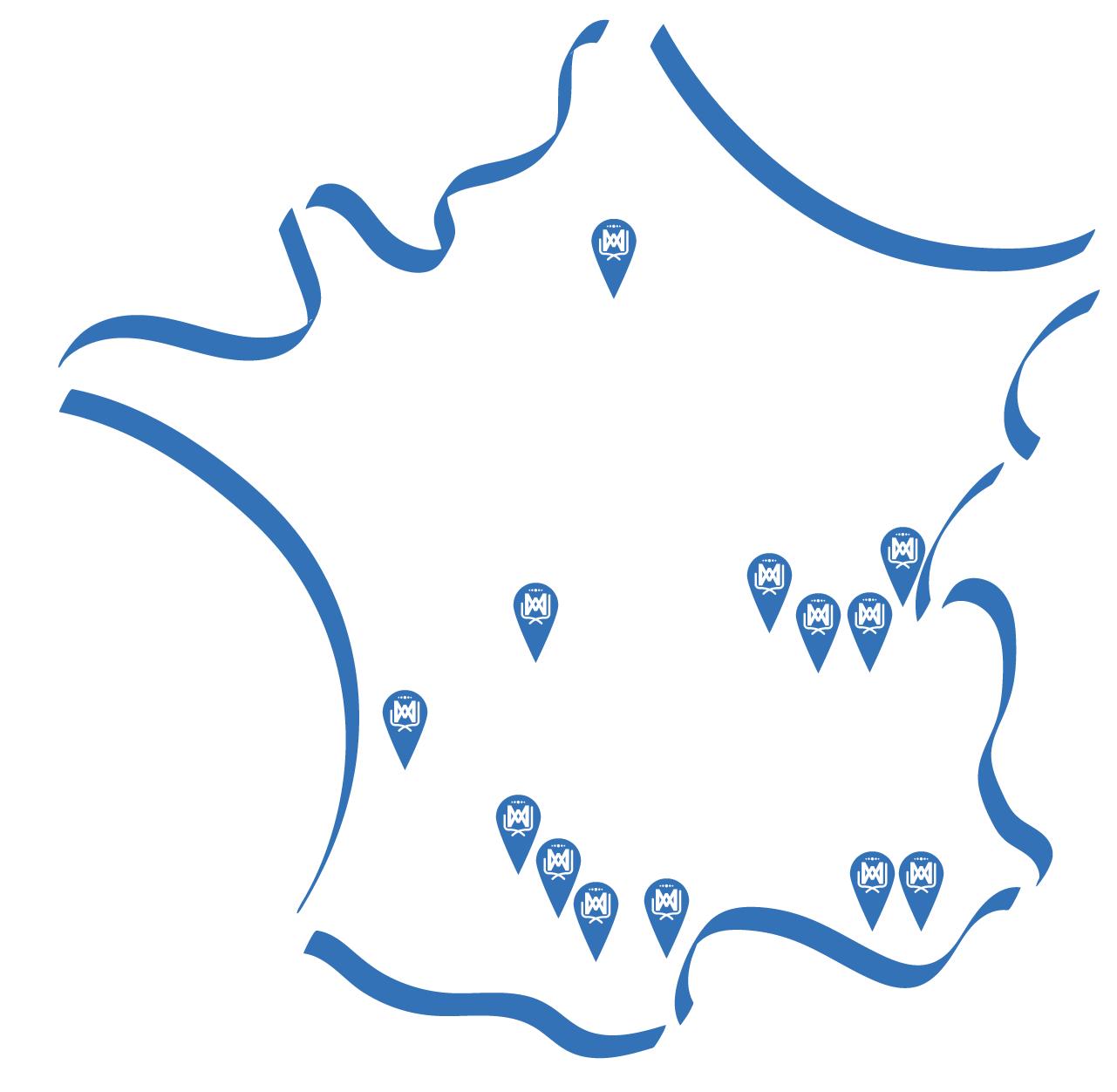 Carte des établissements scolaire en France de la Communauté Marie Notre-Dame